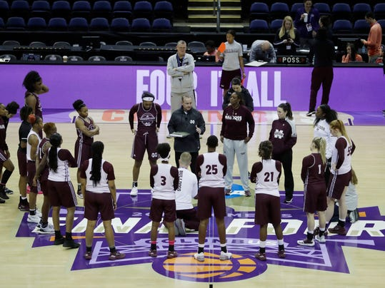 Mississippi State head coach Vic Schaefer talks to the team during a practice session for the women's NCAA Final Four college basketball tournament, Thursday, March 29, 2018, in Columbus, Ohio. Mississippi State plays Louisville on Friday. (AP Photo/Tony Dejak)