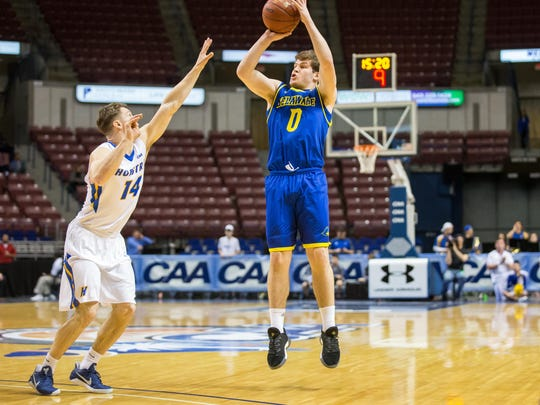Ryan Daly takes a shot en route to his 27 points in Delaware's CAA Tournament win  over Hofstra.