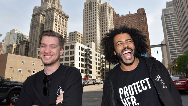 Blindspotting stars and writers Rafael Casal, left, and Daveed Diggs share a laugh outside the Detroit Foundation Hotel.