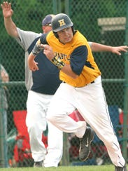 Hartland's Thomas Rivet, who earlier drove in two runs