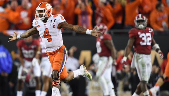 Clemson  quarterback Deshaun Watson celebrates his game-winning touchdown pass on Monday night.