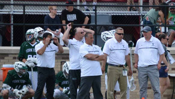Yorktown head coach Sean Carney (right) on the sidelines