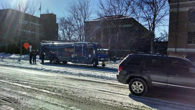 A Department of Homeland Security mobile operations center sets up on Purdue's campus Tuesday.