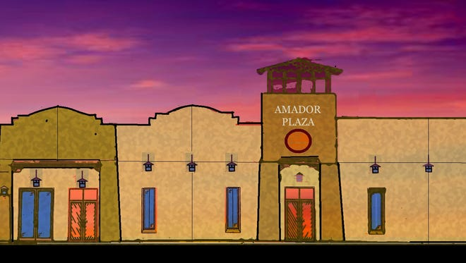Artist rendering of the front of the office/retail space tentatively named Amador Plaza.