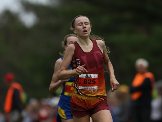 Jacie Legois of Luxemburg-Casco finished seventh to lead the Spartans to a team runner-up finish at the WIAA Division 2 girls cross country meet at Wisconsin Rapids on Saturday.