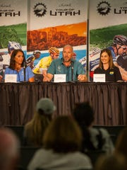 Chairman Steve Miller speaks during the Tour of Utah's 2016 Roll Out Press Conference at Southern Utah University, Sunday, July 31.