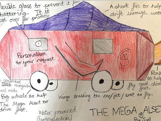 Joel, 11--The Mega Alset is a hydroelectric vehicle with a shark fin roof. Its windows are made of flexible glass to prevent shattering at depth and are tinted for privacy. The car is fitted with a voice recognition system, has wings and also a rocket so it can both fly and drive faster.