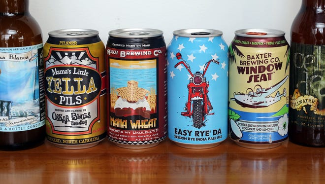 A mixed six pack of craft beer selected by Beer Noggin in Bronxville, March 25, 2016. They are Calabaza Blanca, Mama Little Yella Pils, Maui Brewing Co. Mana Wheat, Easy Rye' Da Session Rye India Pale Ale, Baxter Brewing Co. Window Seat and Stillwater Artisanal.