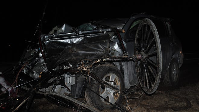 The driver of an SUV was killed when his vehicle hit a driverless buggy in Clark County Saturday.
