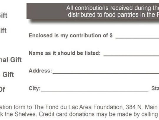 Donation form for Stock the Shelves
