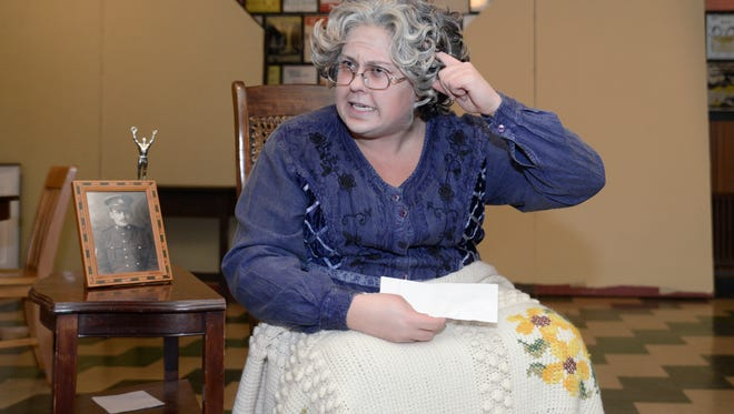 """Allison Blackburn-Schamburek plays Elloise, the grandmother who is the head of the five-generation family as well as the center of the """"Birch Hollow"""" storyline, during a dress rehearsal of Act I of the show on Tuesday, Nov. 3. The Masquers will present """"Birch Hollow"""" at the Capitol Civic Centre from November 12-14."""