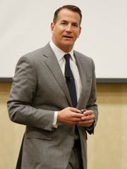 David Kohler talks about Kohler Company's goals of sustainability to a chamber meeting at Blue Harbor Resort and Spa Thursday April 13, 2017 in Sheboygan, Wis.