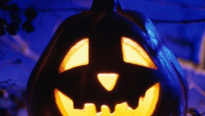 Close-up of a glowing jack-o-lantern