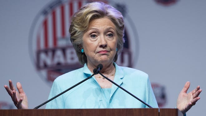 Hillary Clinton speaks during the National Association of Black Journalists (NABJ) and National Association of Hispanic Journalists (NAHJ) joint convention in Washington, DC, August 5, 2016.