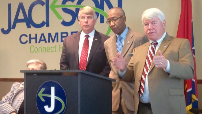 State Rep. Jimmy Eldridge, right,  addresses the crowd at the Capitol Talk held Friday morning at the Jackson Chamber.
