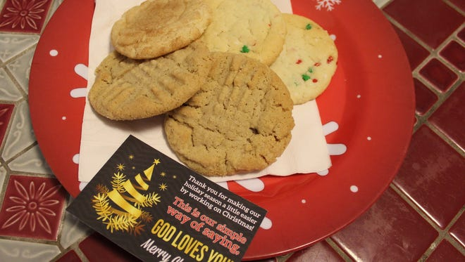 Members of Aldersgate UMC will deliver cookies and other treats to those working Christmas Eve and Day beginning after Saturday's service.