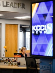 KCCI anchor Mollie Cooney works on her stories for