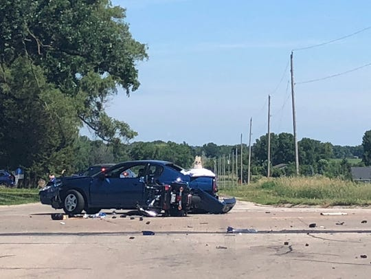 A car and motorcycle involved in a fatal crash in Omro