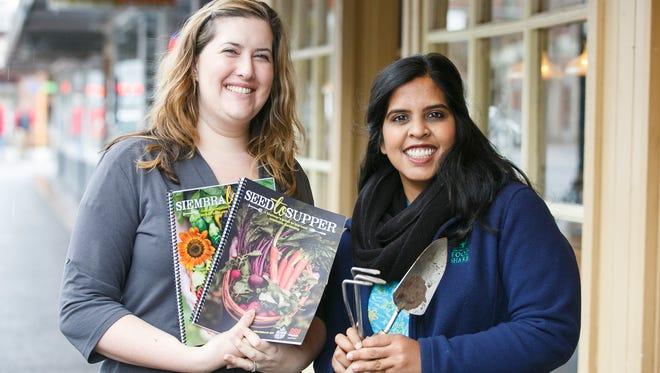 Heather McPherson, left, and Surabhi Mahajan, right, with Marion Polk Food Share at Holding Court on Tuesday, Feb. 21, 2017.