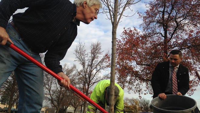 Al Sykes, far left, smooths mulch as it's spread over a tree's base by Chip Rodgers, center, with York's Department of Public Works, and Aaron Jacobs, chair of York Rotary Club's Preserve Planet Earth Committee. The tree, a caliper maple, was the York Rotary Club's 500th tree planted in the city since 2008.