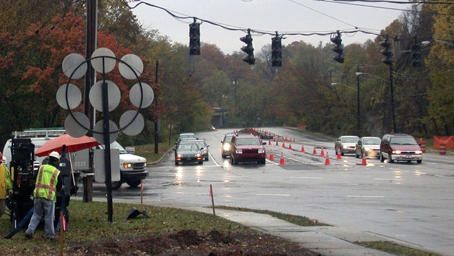 The intersection of Lexington Road and Grinstead Drive, around where the city is proposing changes. Enhancements were also made to the intersection in 2006, shown in this photo, to make the intersection easier to negotiate for bicyclists, pedestrians and runners with the installation of a new crossing light.