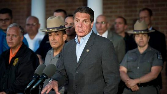 New York Gov. Andrew Cuomo describes acts of murder committed by both Richard Matt and David Sweat during a press conference Friday night in Malone, N.Y.