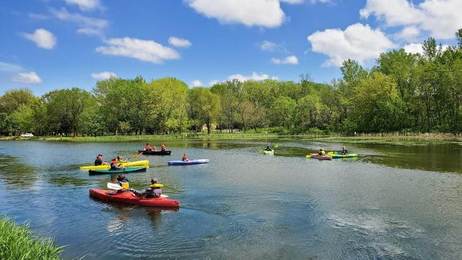 Kayaking on the Hennepin Canal near the Geneseo Campground.