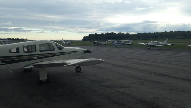 A United Express flight that originated in Newark, New Jersey, made an emergency landing in the Canandaigua airport Sunday, June 21, 2015. This is a file photo of recreational aircraft parked at the Canandaigua airport.