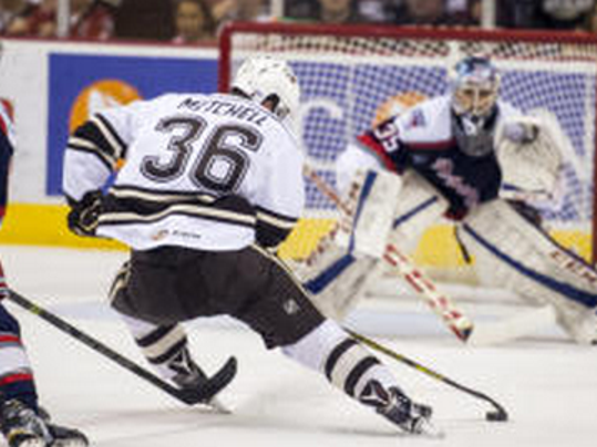 Garrett Mitchell (36) and the Hershey Bears will open their 2015-16 home schedule on Saturday, Oct. 24 against the Hartford Wolf Pack. (Jeremy Long - Lebanon Daily News)