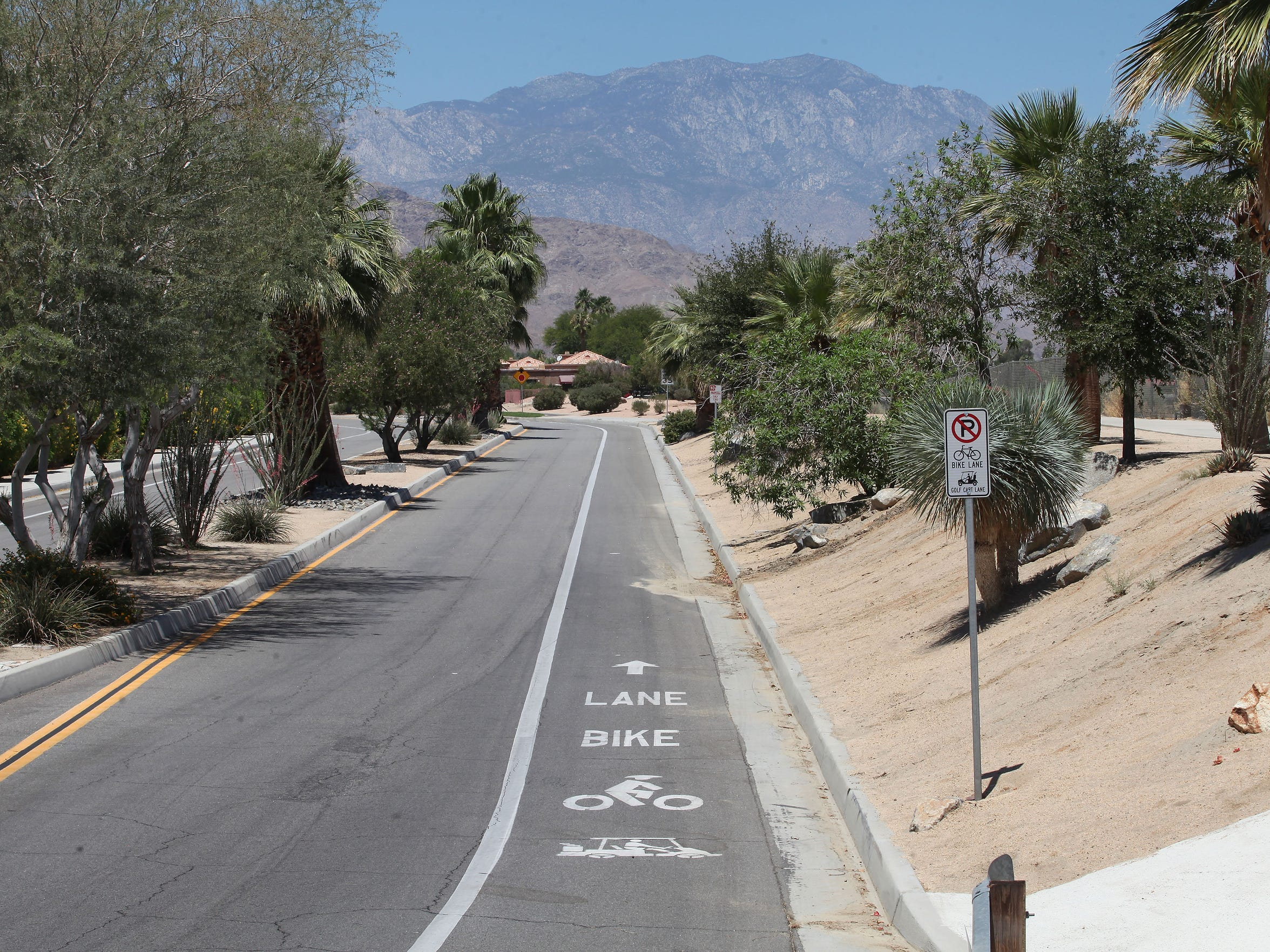An existing bike lane along Columbine Drive in Palm Desert connects with the planned path of the CV Link.
