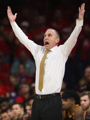 Bobby Hurley reacts to a call during the second half of ASU's loss at Arizona at McKale Center on Dec. 30.