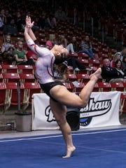 SUU Ana Jaworski performing on the Floor against Boise State & California in the Centrum on Friday.