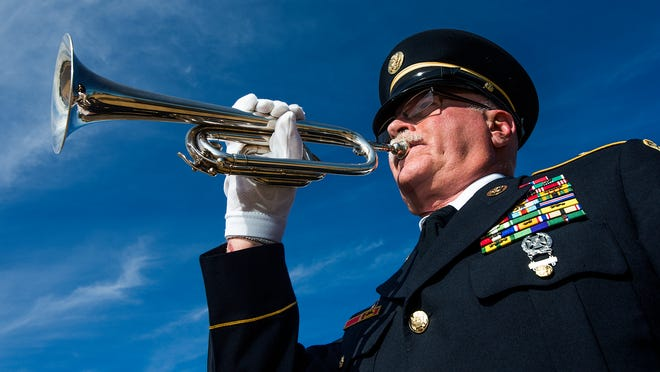 """Army Sgt. Vernon West's silver-plated bugle was given to him """"for safekeeping"""" by a Navy bugler who moved east. Before that, West used a trumpet to play taps at military funerals. He played the bugle at his father's funeral in 2009."""