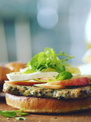 The Apple Brie Turkey Burger, one of the entrees offered by the Minnesota Renaissance Festival. The burger was a new item in 2016 and was successful enough to remain on the menu this year.