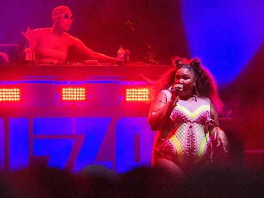 Lizzo performs at the Pride Festival on the Big Four Lawn, Saturday, June 16, 2018 in Louisville Ky.