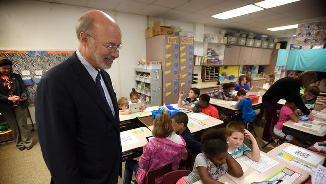 "Governor Tom Wolf stops in Kim Brown's second-grade classroom during his visit to  Harding Elementary School in Lebanon, Monday, Sept. 26, as part of his ""Schools That Teach"" tour."