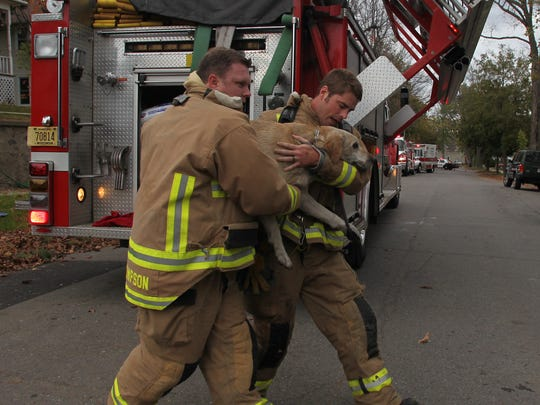 In this file photo Wausau firefighters, Jared Thompson, left, and Jamie Giese carry yellow-lab Koda to a nearby fire department pick-up after rescuing the dog from a smokey room in a west-side Wausau house, October 18, 2011.
