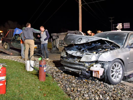 Three vehicles were involved in a crash around 6 p.m. Monday in the 700 block of Buchanan Trail East. One of the vehicles overturned during the collision.