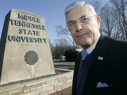 John Hood stands in front of the Middle Tennessee State
