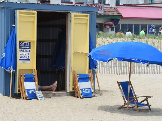 Rentals for umbrellas were limited as cool and windy