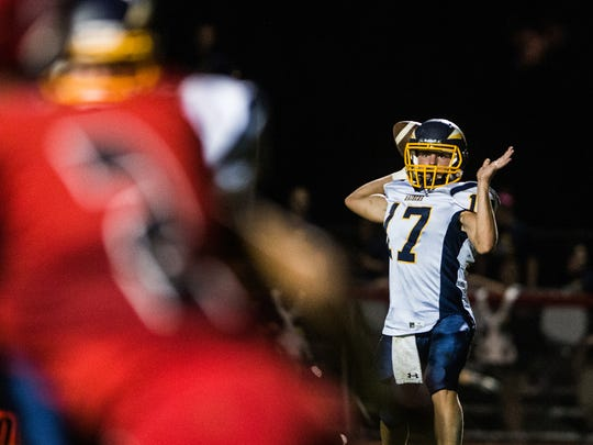 Elco's Braden Bohannon looks down the field for an open receiver.