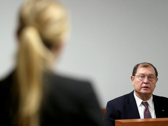 South Kitsap School District Superintendent Karst Brandsma testifies in Kitsap County District Court on Friday.