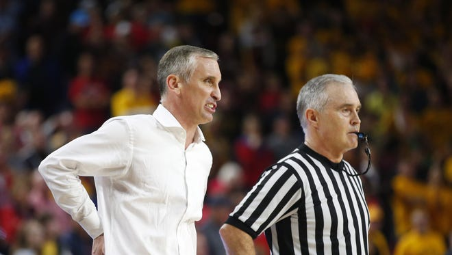 Arizona State Sun Devils head coach Bobby Hurley argues a call with the referee during a men's basketball game at Wells Fargo Arena in Tempe on February 15, 2018. #asu basketball