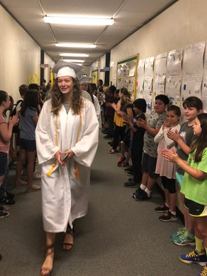 Reynolds High seniors, about to graduate, walked the halls of Haw Creek Elementary, which they had attended years earlier.