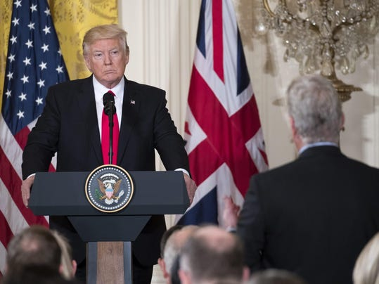 US President Donald J. Trump hosts British Prime Minister Theresa May at the White House
