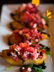 Executive chef Bill Wallen's bruschetta features chopped strawberries mixed with feta and olive oil on toast points.