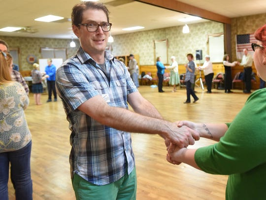 Tom Mayhall Rastrelli and Carlee Wright participate in an Irish dance lesson hosted by Céilí of the Valley Society at the VFW Hall. Tom and Carlee's C.A.F.E. — community arts for everyone — is an ongoing series of interactive art events focused on the arts and entertainment community.