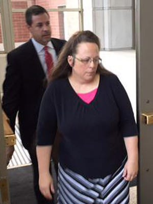 County Clerk Kim Davis of Rowan County, Ky., enters the federal courthouse July 20, 2015, in Covington, Ky.