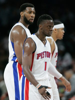 Pistons center Andre Drummond and guard Reggie Jackson head to the bench during a time-out in the Pistons' 101-91 loss in Game 3 of the Eastern Conference quarterfinals Friday at the Palace.