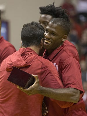 Indiana Hoosiers guard Josh Newkirk (2) receives his 2015-2016 championship ring during Hoosier Hysteria at Assembly Hall, Bloomington, Ind., Saturday, October 22, 2016.